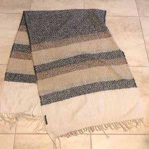 Silvia Alexander grey neutral striped fuzzy scarf